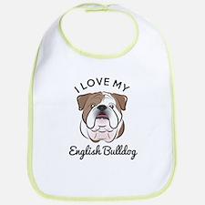 I Love My English Bulldog Bib