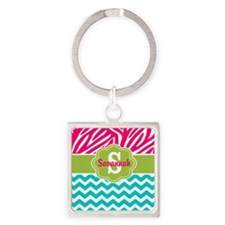 Pink Green Teal Chevron Personalized Keychains