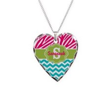 Pink Green Teal Chevron Personalized Necklace
