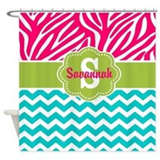Pink Green Teal Chevron Personalized Shower Curtai