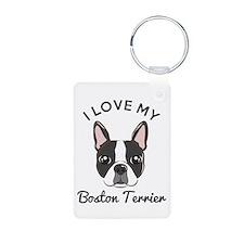 I Love My Boston Terrier Keychains