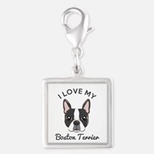 I Love My Boston Terrier Silver Square Charm