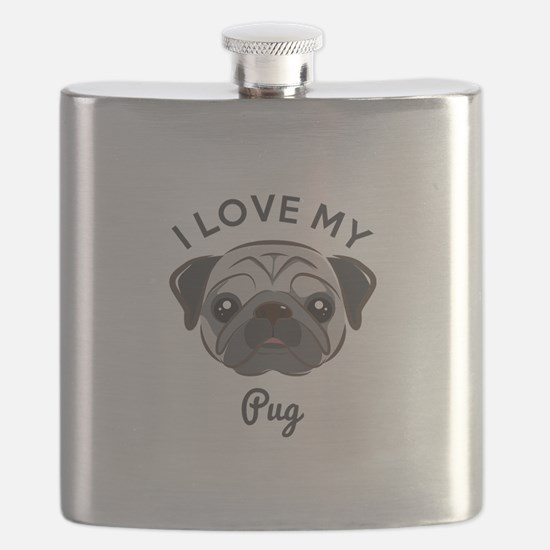 I Love My Pug Flask