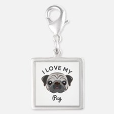 I Love My Pug Silver Square Charm