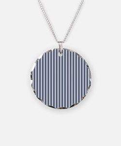 Blue and White Vertical Stripes Necklace
