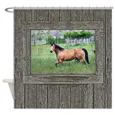 Old window horse 2 Shower Curtain