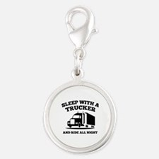 Sleep With A Trucker Silver Round Charm