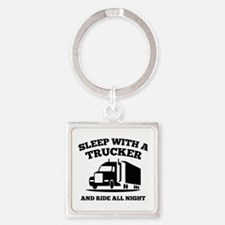 Sleep With A Trucker Square Keychain