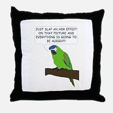 HDR Parrot Throw Pillow