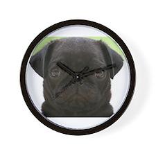 Black Pug Wall Clock