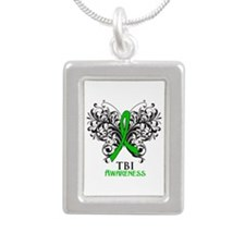 TBI Awareness Silver Portrait Necklace