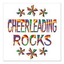 "Cheerleading Rocks Square Car Magnet 3"" x 3"""