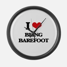 I Love Being Barefoot Large Wall Clock