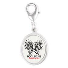 Scoliosis Awareness Silver Oval Charm