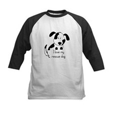 I love my rescue Dog Pet Humor Quote Baseball Jers