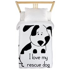 I Love My Rescue Dog Pet Humor Quote Twin Duvet