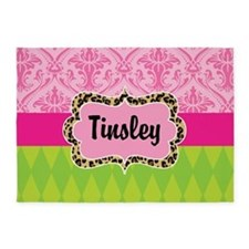 Pink Green Damask Leopard Personalized 5'x7'Area R