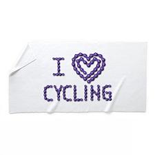 LOVE CYCLING Beach Towel