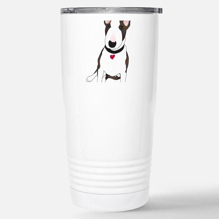 Cute White bull terrier Travel Mug