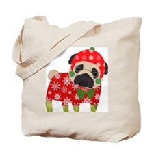 Snowflake Pug Tote Bag