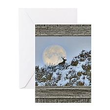 Old window snow buck Greeting Card