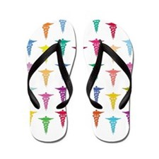 Colorful Caduceus Flip Flops