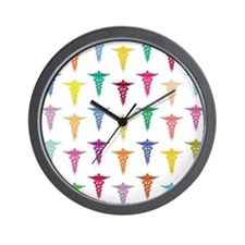 Colorful Caduceus Wall Clock