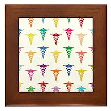Colorful Caduceus Framed Tile
