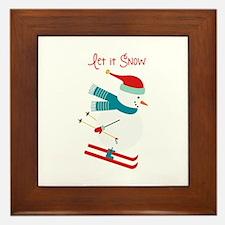 Let it Snow Skiing Framed Tile