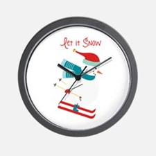 Let it Snow Skiing Wall Clock