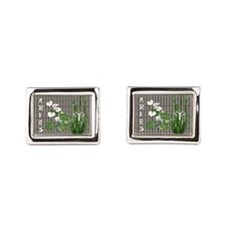 Bamboo and Lily Aries Rectangular Cufflinks