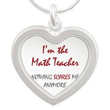 Math Teacher Silver Heart Necklace