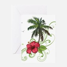 Tree with Hibiscus Greeting Cards