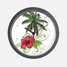 Tree with Hibiscus Wall Clock