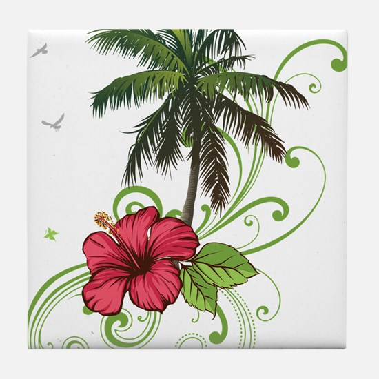 Tree with Hibiscus Tile Coaster