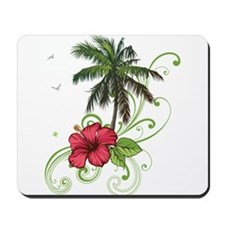 Tree with Hibiscus Mousepad