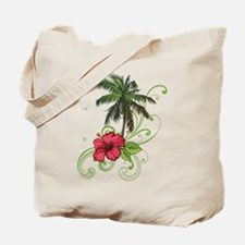 Tree with Hibiscus Tote Bag