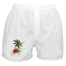 Tree with Hibiscus Boxer Shorts