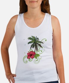 Tree with Hibiscus Tank Top