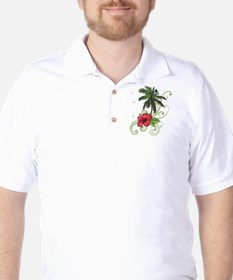 Tree with Hibiscus Golf Shirt
