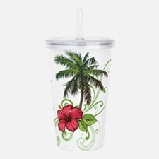 Tree with Hibiscus Acrylic Double-wall Tumbler