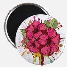 Pink Painted Hibiscus Magnets