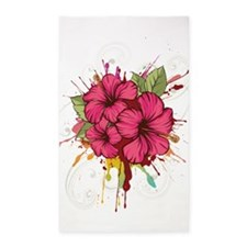Pink Painted Hibiscus Area Rug