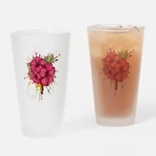 Pink Painted Hibiscus Drinking Glass