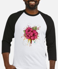 Pink Painted Hibiscus Baseball Jersey