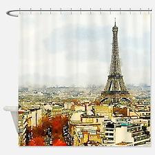 Eiffel Tower Paris Watercolor Shower Curtain