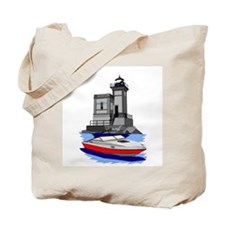 Huntington NY Lighthouse with boat Tote Bag