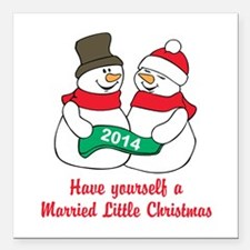 "Christmas Newlyweds Square Car Magnet 3"" x 3"""