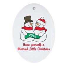 Christmas Newlyweds Ornament (Oval)