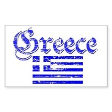 Greek distressed flag Rectangle Decal